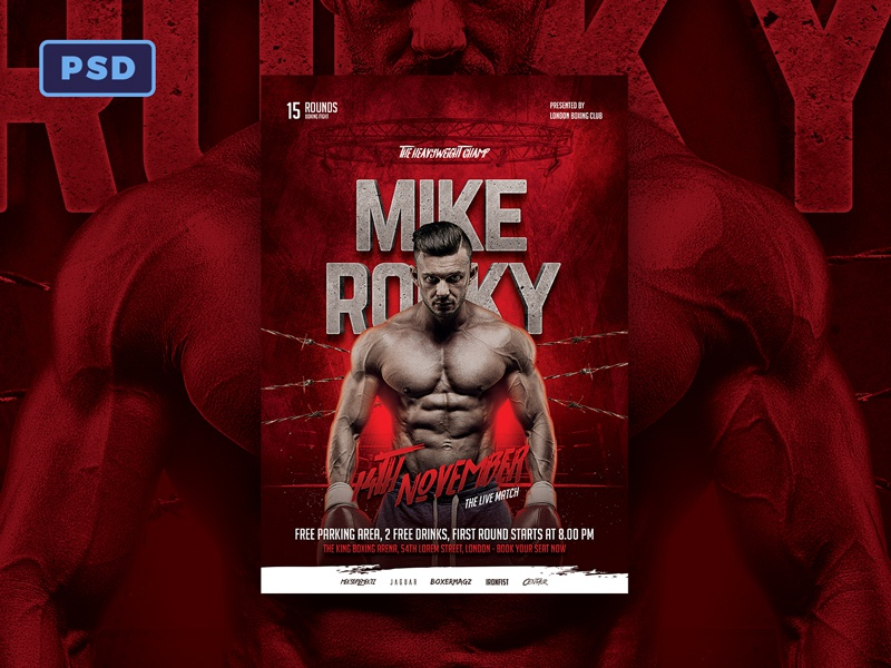 Mma Boxing Flyer Template Photoshop Dribbble By Mohamad Borneafandri