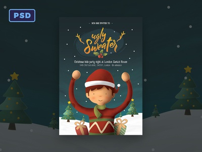 Ugly Sweater Kids Christmas Flyer Template By Mohamad Borneafandri