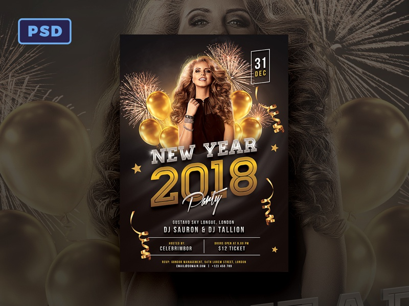 new year 2018 party flyer template banner poster flyer party celebration nye new years eve new