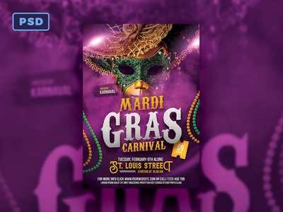 Mardi Gras Flyer Template Photoshop Dribbble By Mohamad Borneafandri
