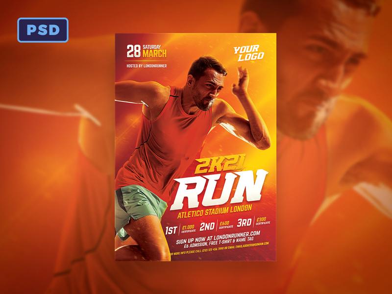 Running Sport Flyer Template By Mohamad Borneafandri Abulga Dribbble