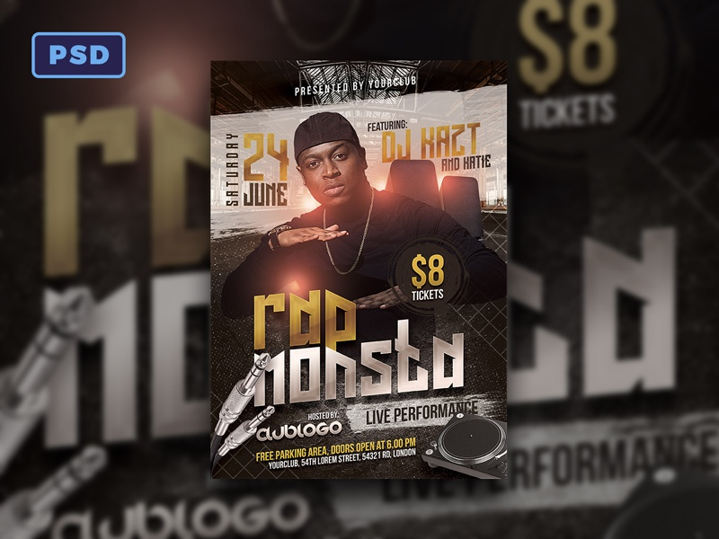 rap music flyer template by mohamad borneafandri abulga dribbble