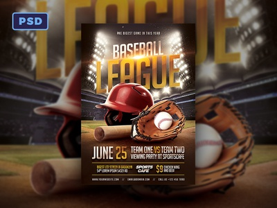 Baseball Flyer Template by Mohamad Borneafandri Abulga - Dribbble