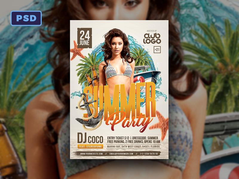 Summer Party Flyer Template By Mohamad Borneafandri Abulga Dribbble