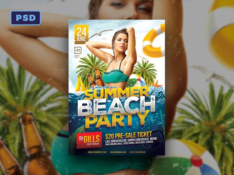 Summer Beach Party Flyer Template By Mohamad Borneafandri Abulga