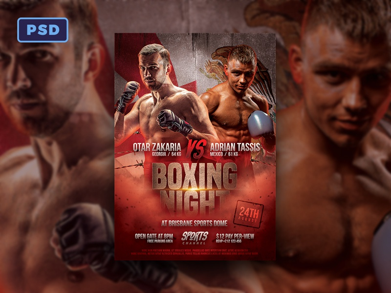 Boxing Match Flyer Template By Bornx Dribbble Dribbble