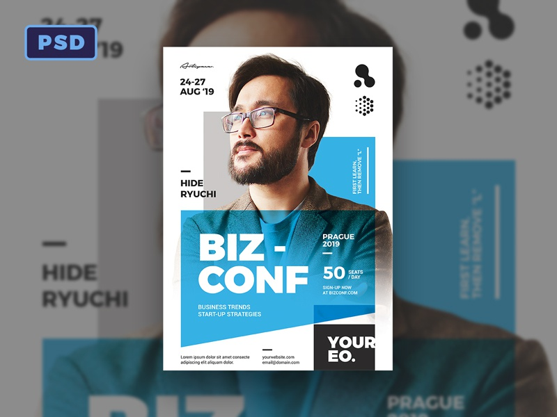 Modern Seminar Psd Flyer Template Photoshop Bornx Design
