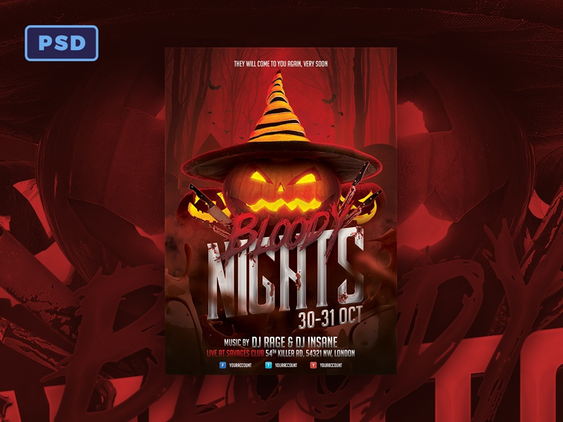 bloody nights halloween flyer template pumpkin horror blood jack o lantern halloween design halloween bash halloween