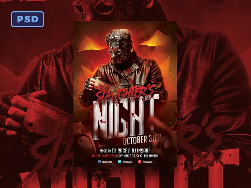 Slaughters Night Halloween Flyer By Mohamad Borneafandri Abulga