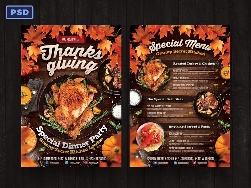 Thanksgiving Dinner Flyer + Menu Template november restaurant flyer autumn flyer food menu food flyer thanksgiving day thanksgiving flyer template poster template poster flyer photoshop