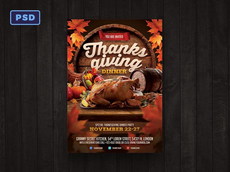 thanksgiving dinner flyer template by mohamad borneafandri abulga