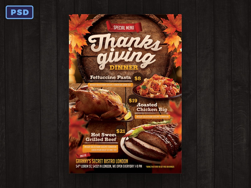 thanksgiving restaurant menu flyer template by mohamad borneafandri
