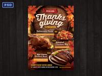 Thanksgiving Restaurant Menu Flyer Template