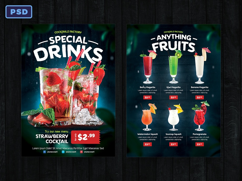 Beverage Drink Flyer Menu Template By Bornx On Dribbble