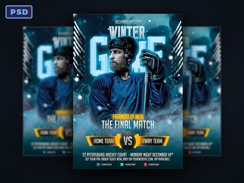 Winter Game Hockey Flyer By Mohamad Borneafandri Abulga Dribbble