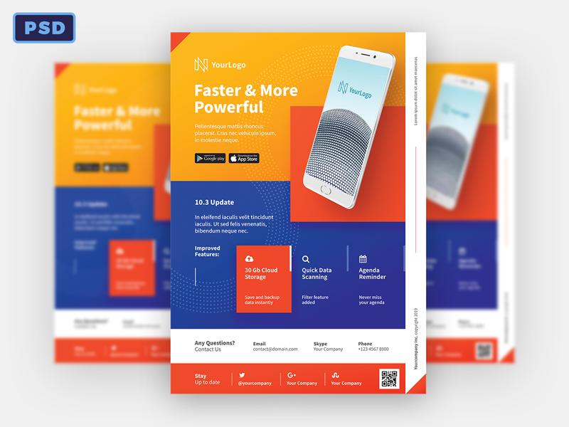 mobile app promotion flyer template by mohamad borneafandri abulga