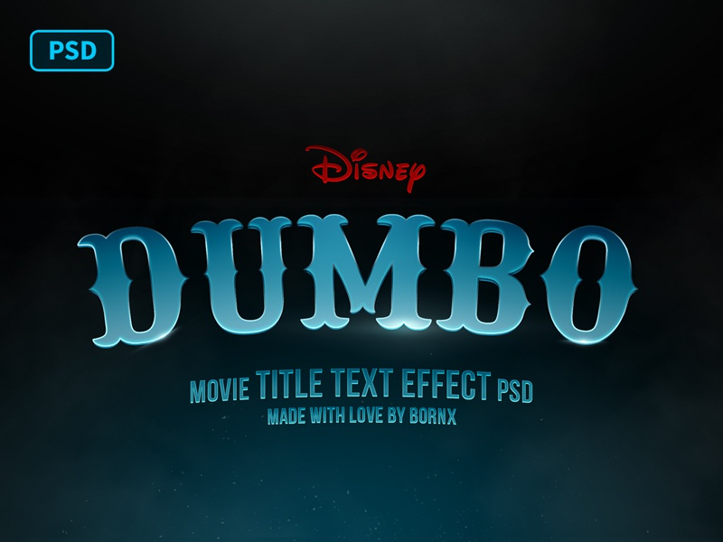 Dumbo Movie Title Text Effect PSD Free by Bornx on Dribbble