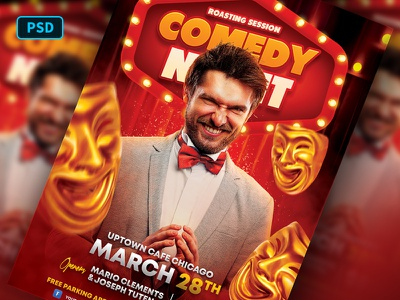 Stand Up Comedy Flyer Template comedy show jokes humor comedian comedy stand up comedy photoshop poster template flyer template graphicriver