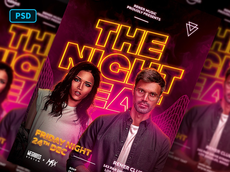 Duo Dj Flyer Template psd flyer neon light party flyer club flyer dj battle dj party dj night dj flyer dj flyer template poster template photoshop