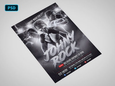 Boxing Player Flyer Template PSD