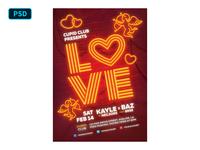 Neon Valentine - Flyer Template PSD