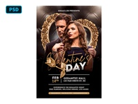 Black And Gold Valentines Flyer Template