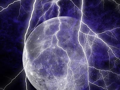 Moon and Thunder Composite thunder moon illustration wallpaper moon logo
