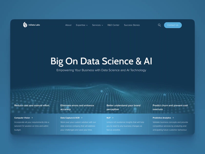 Home page design for Data Science & AI company landing page b2b sales loop after effect aftereffects site ai data science big data artificial intelligence home page particles motion graphics landing animation animation b2b webdesign website 3d art motion design