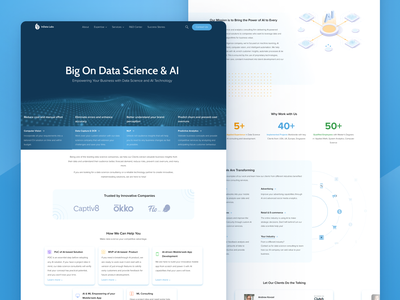 Landing Page for AI & Data Science Company InData Labs consulting mvp technology face recognition machine learning ai data science b2c b2b icons lettering typography home page website artificial intelligence landing landing page