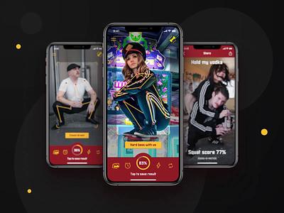 Squat-O-Meter | AI-based app that estimates how cool you sqaut ui ux icons app pose estimation design chart meme fun ios android squat slav photo camera interaction design mobile