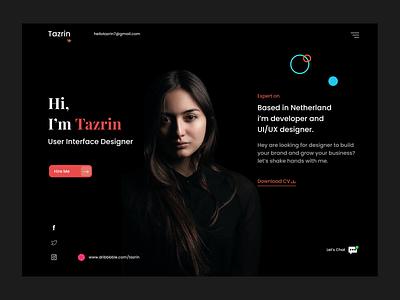 Personal Portfolio web UI drak web website onepage trendy tazrin ux ui web design resume cv personal portfolio website