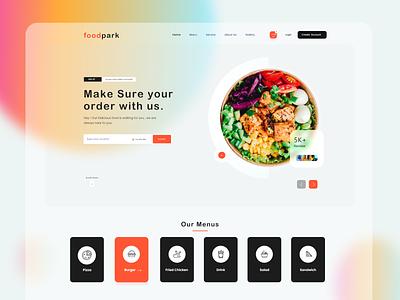 Food Park  Web UI ecommerce website design web designer populer shot best shot tazrin color home page landing page trendy food order lunch uiux app web food resturant