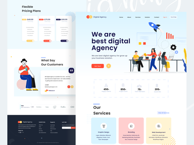 Maketing Agency Web UI popular shot trendy illustration tazrin agency branding web designer ux ui home page landing page agency website marketing digital agency web