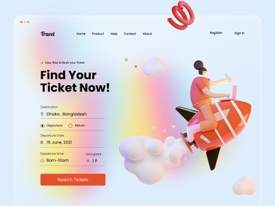 Ticket Booking Web UI Exploration illustration illu 3d ux booking air ticket glass effect trendy designer landing page tazrin travelling travel website travel app ticket booking app