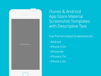 iTunes & Android App Store Material Screenshots Template