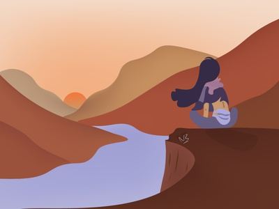 My Blue Thoughts digital artwork digitalart evening thinking watching sitting sunset aesthetic mountains dream travel illustrator cc illustrator art illustration design girl illustrator adobe beginner illustration design
