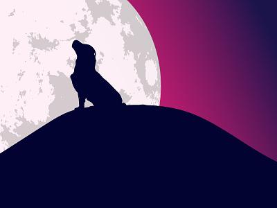 Gradient dusk magenta purple moonlight moonlit moon night wolf dog logo evening illustrator cc illustrator art illustration design illustrator adobe beginner illustration design