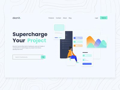 Deznit - Landing Page web minimal illustration hero section ui design
