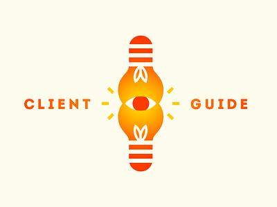 Client Guide Logo logo mark client guide lightbulb eye bright warm vector shapes client guide venn diagram