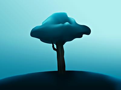Tree  tree illustration hill nature wip prototype 3d