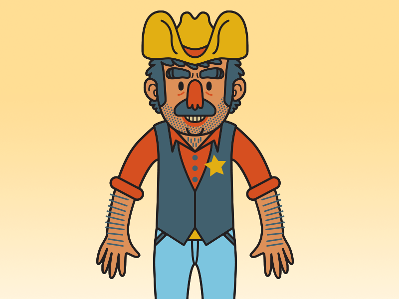 Cowboy cowboy vector illustration art cartoon west sheriff mustache man wild west