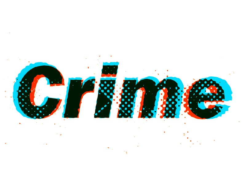Crime grunge grit letters type experiment overprint overlay halftone typography crime