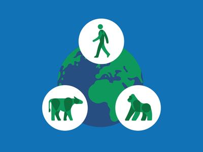 Wildlife Health Spot Rework environment conservation nature earth diagram person gorilla cow vector illustration health wildlife