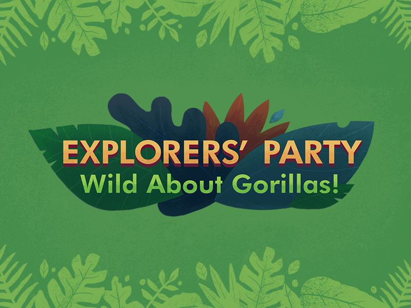Wild About Gorillas! Typography type lockup typography illustration leaves green wild gorilla jungle children kids futura