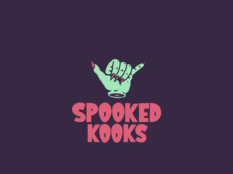 Spooked Kooks Logo design identity brand branding surfboard hang loose shaka surfing surf spooked kooks logo