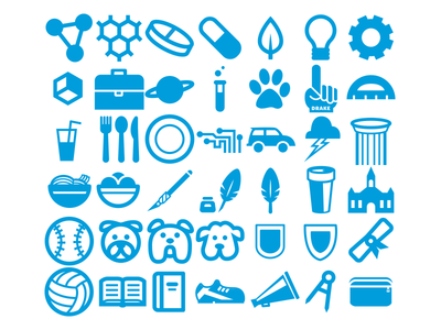 Drake Icons (WIP) icon iconography drake university college school dog pill science book education misc vector blue
