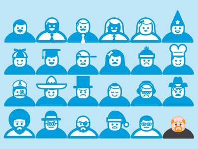 I Made Some New Friends icon character people man woman louis ck variety person graduate cowboy mustache chef afro beanie hats custom vector university education