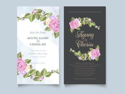 Simple Floral Wedding Invitation Template Design beautifull elegant bouquet roses vector invitation set invitation card template design templates template design branding design wedding invite wedding invitation engagement wedding card wedding invitation illustration graphic design