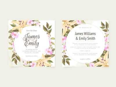 Beautifull Floral Wedding Invitation Template template elegant beautfull floral template design graphic design invitation design wedding invite invitation card wedding invitation wedding card engagement wedding