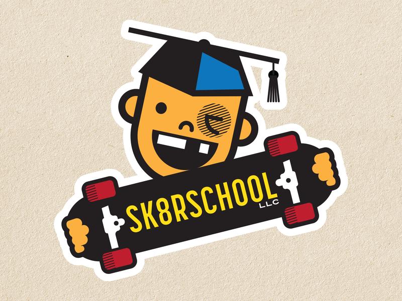 Skateboarding School Logo Concept kid skateboard graphics skateboard vector graphic design logos vector illustration logo design logo illustration